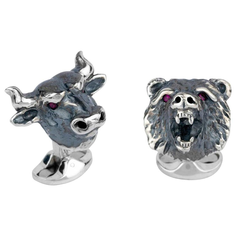 Deakin & Francis Sterling Silver Bull and Bear Cufflinks with Ruby Eyes For Sale