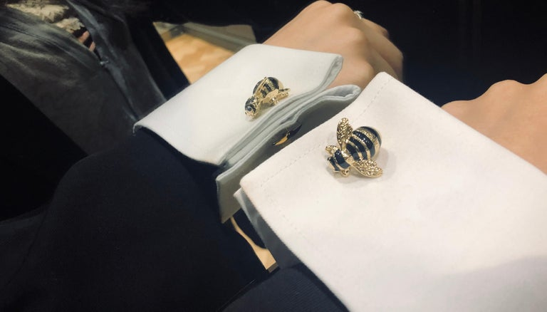 Round Cut Deakin & Francis Sterling Silver Bumble Bee Cufflinks For Sale