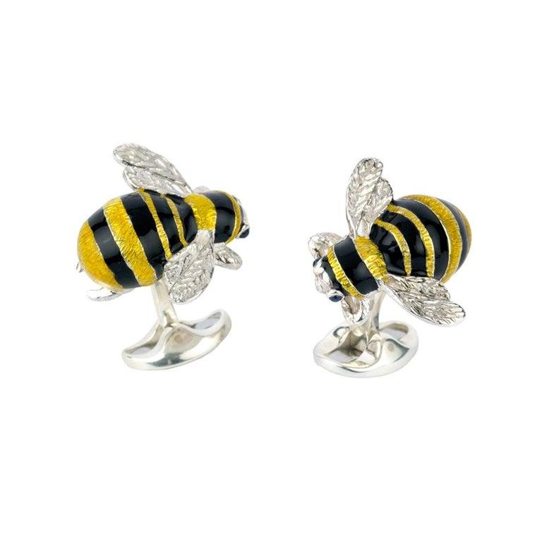 Deakin & Francis Sterling Silver Bumble Bee Cufflinks For Sale