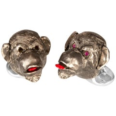 Deakin & Francis Sterling Silver Cheeky Monkey Cufflinks with Ruby Eyes