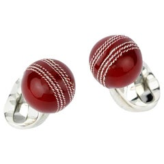 Deakin & Francis Sterling Silver Cricket Ball Cufflinks