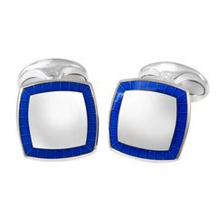 Deakin & Francis Sterling Silver Cufflinks with Blue Enamel Border