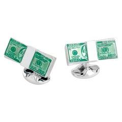 Deakin & Francis Sterling Silver Dollar Bill Cufflinks