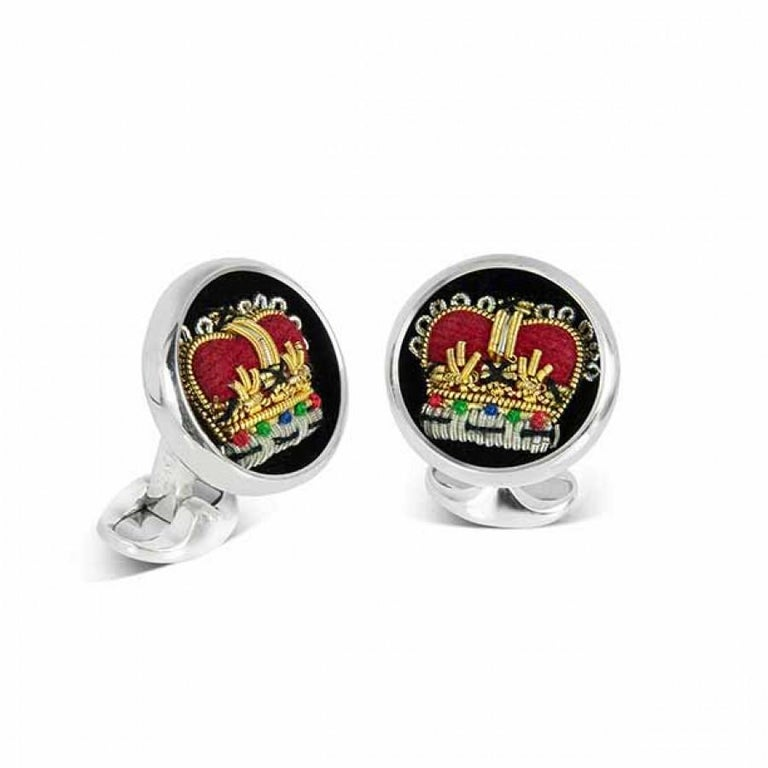 Deakin & Francis Sterling Silver Embroidered Crown Cufflinks 4