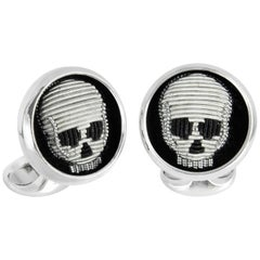 Deakin & Francis Sterling Silver Embroidered Skull Cufflinks