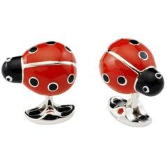 Deakin & Francis Sterling Silver Enamel Ladybird Cufflinks