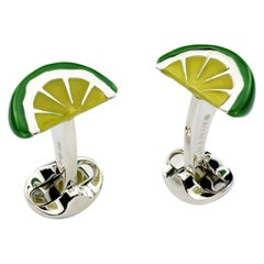 Deakin & Francis Sterling Silver Enamel Lime Wedge Cufflinks