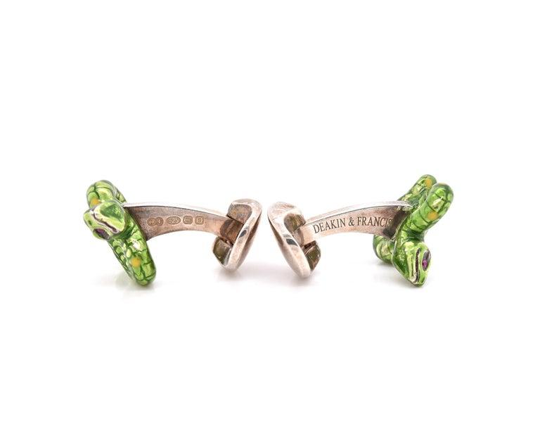 Women's or Men's Deakin & Francis Sterling Silver Enamel Serpentine Snake Cufflinks For Sale