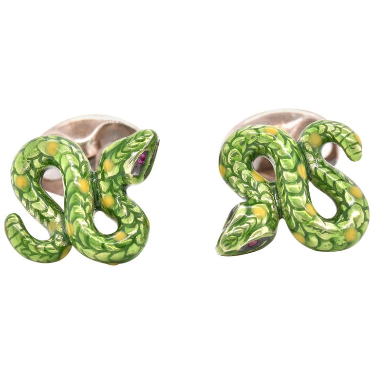 Deakin & Francis Sterling Silver Enamel Serpentine Snake Cufflinks For Sale