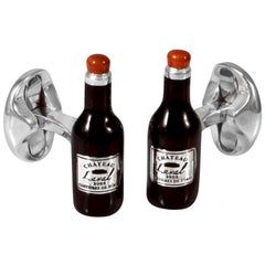 Deakin & Francis Sterling Silver Enamel Wine Bottle Cufflinks