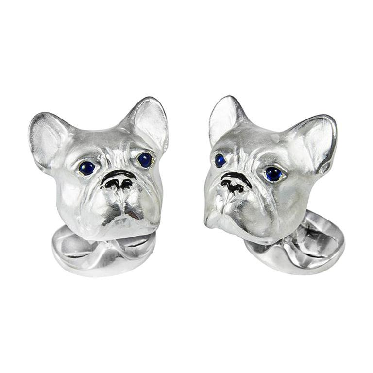 Deakin & Francis Sterling Silver French Bulldog Cufflinks For Sale