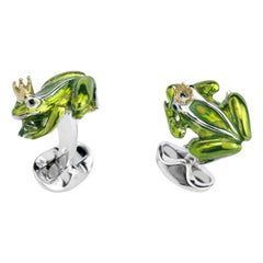 Deakin & Francis Sterling Silver Frog with Crown Cufflinks