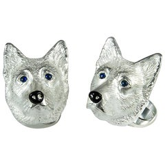 Deakin & Francis Sterling Silver German Shepherd Dog Cufflinks