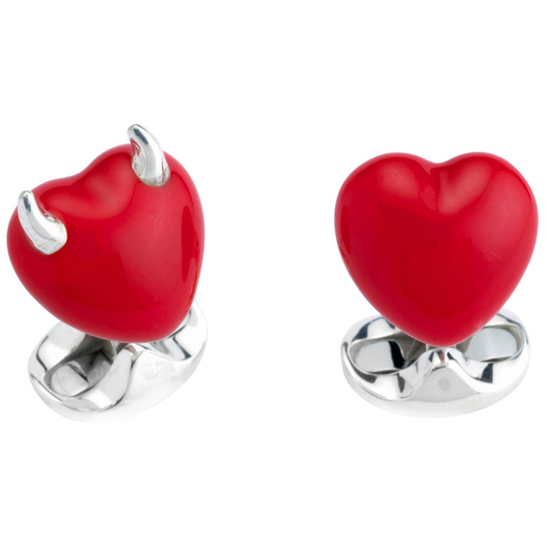 Deakin & Francis Sterling Silver Good and Bad Heart Cufflinks For Sale