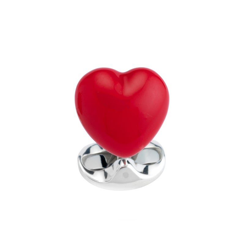 Contemporary Deakin & Francis Sterling Silver Good and Bad Heart Cufflinks For Sale