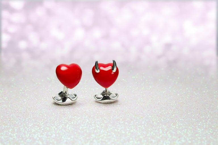 Deakin & Francis Sterling Silver Good and Bad Heart Cufflinks In New Condition For Sale In Birmingham, West Midlands