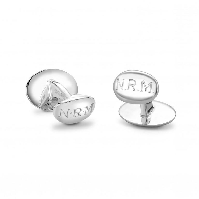 Round Cut Deakin & Francis Sterling Silver Grey Mother of Pearl Cufflinks with Aquamarine For Sale