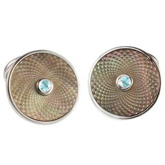 Deakin & Francis Sterling Silver Grey Mother of Pearl Cufflinks with Aquamarine