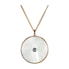 Deakin & Francis Sterling Silver Large Mother of Pearl and Aquamarine Pendant