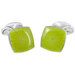 Deakin & Francis Sterling Silver Lime Green Enamel Cufflinks