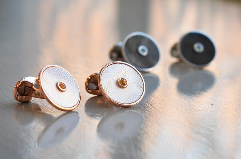 DEAKIN & FRANCIS, PICCADILLY ARCADE, LONDON.  Capture your dreams with our Dreamcatcher Collection; These cufflinks each contain a shimmery, precision cut piece of mother-of-pearl in either grey or white and are finished off with a precious gemstone