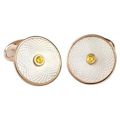 Deakin & Francis Sterling Silver Mother of Pearl Cufflinks with Yellow Sapphire