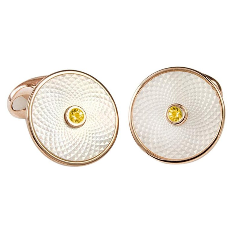 Deakin & Francis Sterling Silver Mother of Pearl Cufflinks with Yellow Sapphire For Sale