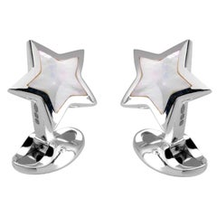 Deakin & Francis Sterling Silver Mother of Pearl Star Cufflinks