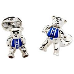 Deakin & Francis Sterling Silver Moveable Blue Enamel Teddy Bear Cufflinks