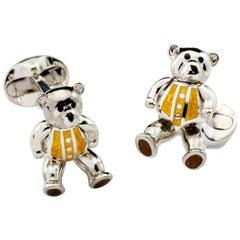 Deakin & Francis Sterling Silver Moveable Yellow Enamel Teddy Bear Cufflinks