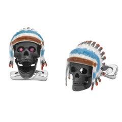 Deakin & Francis Sterling Silver Native American Skull Cufflinks