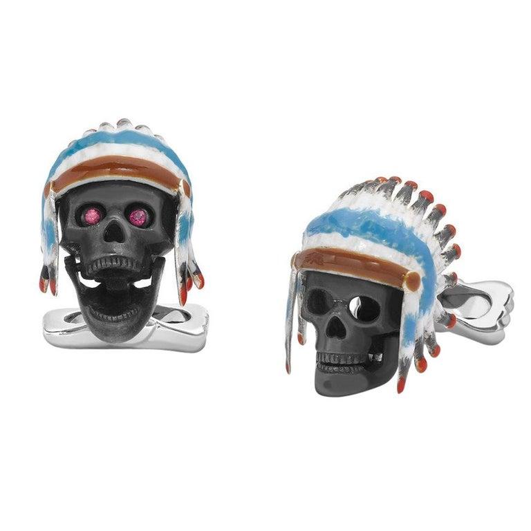 Deakin & Francis Sterling Silver Native American Skull Cufflinks For Sale