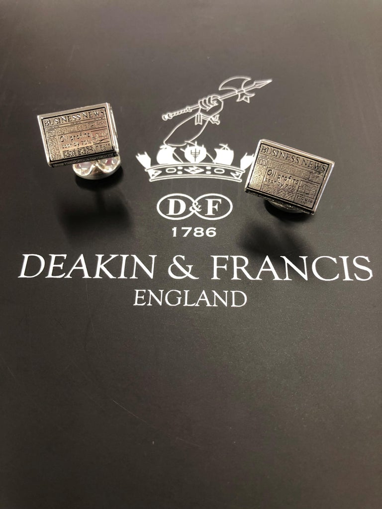 DEAKIN & FRANCIS, Piccadilly Arcade, London  Hear ye! Hear ye! Read all about it! These 'Business News' cufflinks will make the headlines of all conversations. An ideal gift for any business man or the perfect accessory in the boardroom.