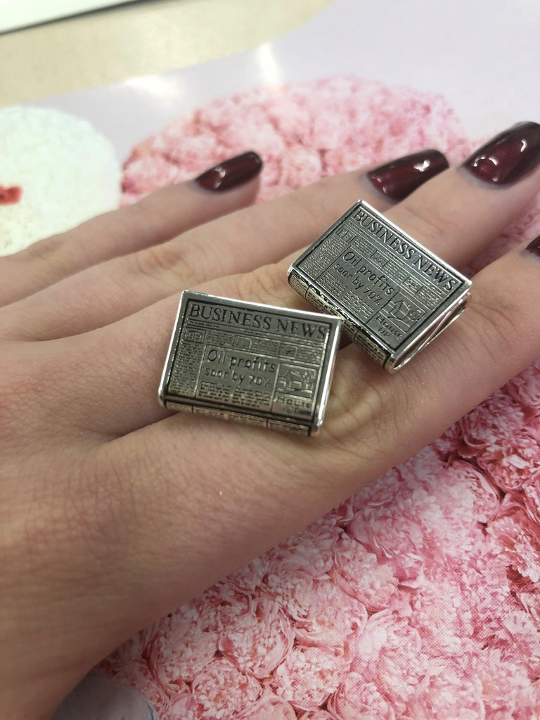Contemporary Deakin & Francis Sterling Silver Newspaper Cufflinks For Sale