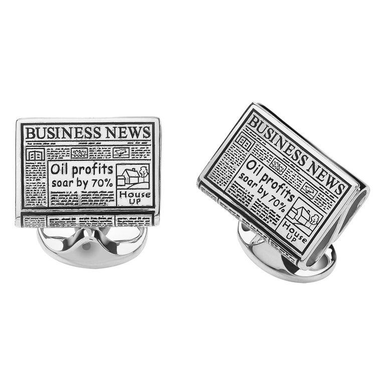 Deakin & Francis Sterling Silver Newspaper Cufflinks For Sale
