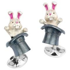 Deakin & Francis Sterling Silver Rabbit in Hat Cufflinks