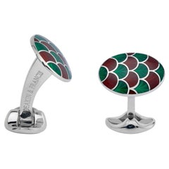 Deakin & Francis Sterling Silver Red and Green Enamel Cufflinks