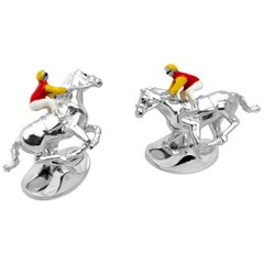 Deakin & Francis Sterling Silver Red and Yellow Horse and Jockey Cufflinks