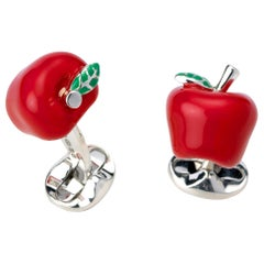 Deakin & Francis Sterling Silver Red Enamel Apple Cufflinks