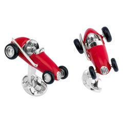 Deakin & Francis Sterling Silver Red Racing Car Cufflinks