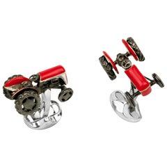 Deakin & Francis Sterling Silver Red Tractor Cufflinks