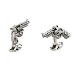 Deakin & Francis Sterling Silver Revolver Gun Cufflinks