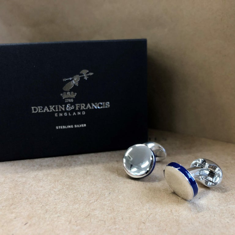Contemporary Deakin & Francis Sterling Silver Round Cufflinks with Deep Blue Edge For Sale