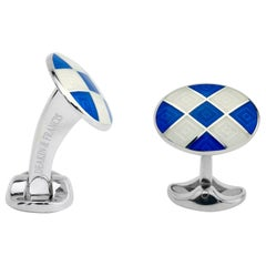 Deakin & Francis Sterling Silver Royal Blue and Clear Patterned Enamel Cufflinks