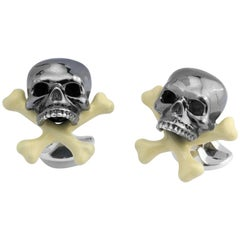 Deakin & Francis Sterling Silver Skull and Cross Bone Cufflinks