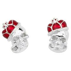 Deakin & Francis Sterling Silver Skull With Red Enamel Crown Cufflinks