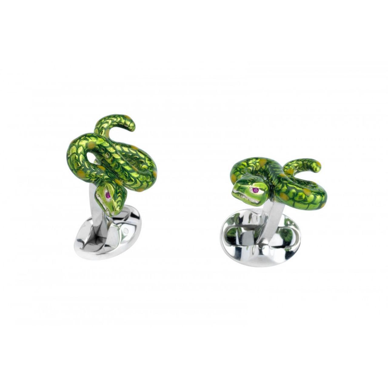 Deakin & Francis Sterling Silver Snake Cufflinks