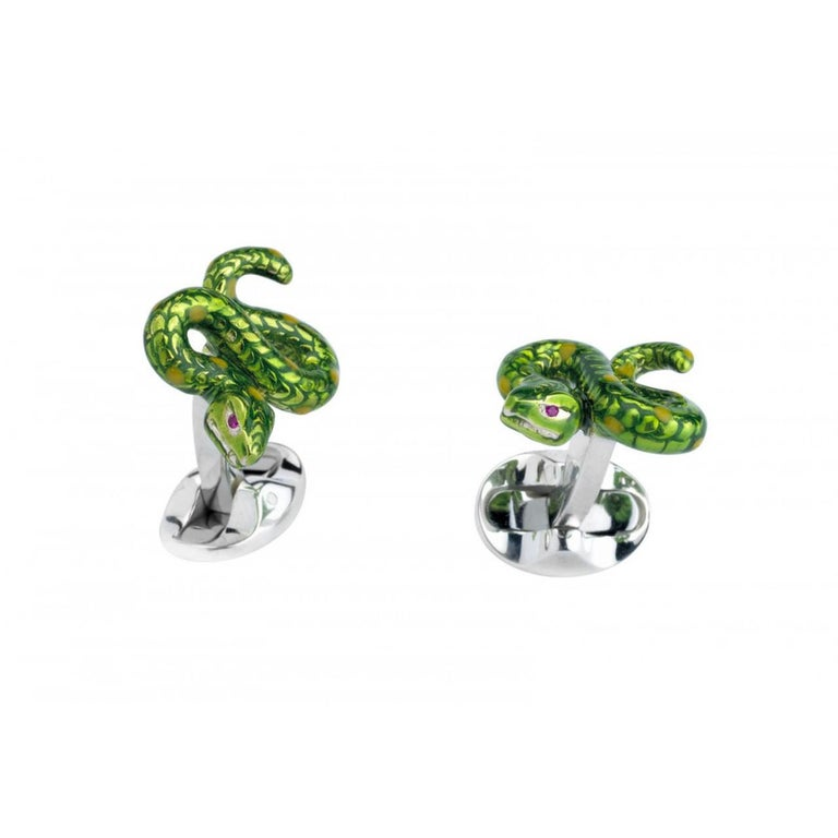Deakin & Francis Sterling Silver Snake Cufflinks For Sale