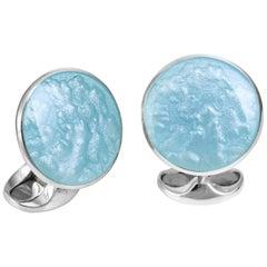 Deakin & Francis Sterling Silver Summer Haze Enamel Cufflinks in Pale Blue