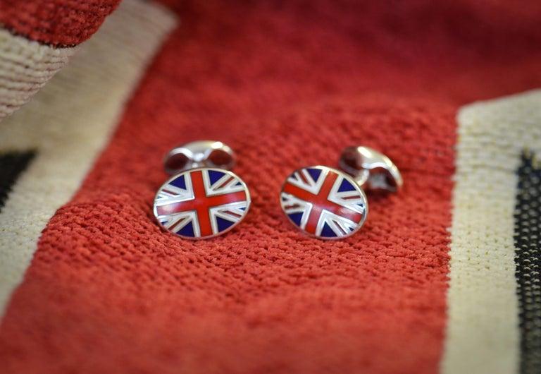 Deakin & Francis Sterling Silver Union Jack Enamel Cufflinks In New Condition For Sale In Birmingham, West Midlands